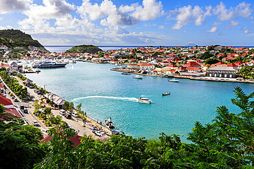 Elevated view over pretty Gustavia harbour and town and out to sea, Gustavia, St. Barthelemy (St. Barts) (St. Barth), West Indies, Caribbean, Central America