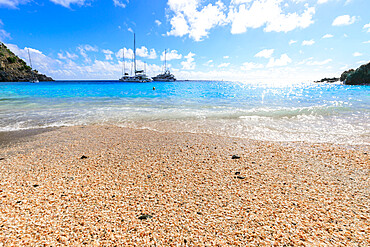 Shell Beach, yachts anchored in turquoise bay, Gustavia, St. Barthelemy (St. Barts) (St. Barth), West Indies, Caribbean, Central America