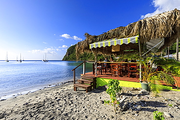 Deshaies, Catherine's Bar, Death In Paradise location, late afternoon, Basse Terre, Guadeloupe, Leeward Islands, West Indies, Caribbean, Central America