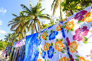 Beautiful hanging backlit wraps, white sand beach, palm trees, sun, Saltwhistle Bay, Mayreau, Grenadines, St. Vincent and The Grenadines, Windward Islands, West Indies, Caribbean, Central America