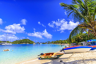 Colourful boat, white sand beach, turquoise sea, palm trees, yachts, Saltwhistle Bay, Mayreau, Grenadines, St. Vincent and The Grenadines, Windward Islands, West Indies, Caribbean, Central America