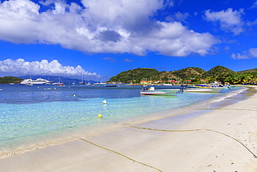 Anse du Fond Cure, white sand beach, turquoise sea, Les Saintes Bay, Terre de Haut, Iles Des Saintes, Guadeloupe, Leeward Islands, West Indies, Caribbean, Central America