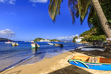 Colourful Anse du Bourg, town beach and boats, Terre de Haut, Iles Des Saintes, Les Saintes, Guadeloupe, Leeward Islands, West Indies, Caribbean, Central America