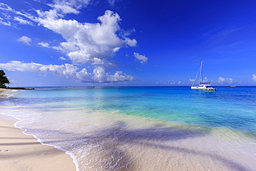 Paynes Bay, small boats off fine pale pink sand beach, turquoise sea, beautiful West Coast, Barbados, Windward Islands, West Indies, Caribbean, Central America