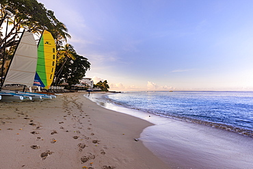 Paynes Bay at sunrise, colourful sail boats on pink sand beach, beautiful West Coast, Barbados, Windward Islands, West Indies, Caribbean, Central America