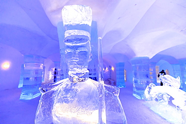 Sorrisniva Igloo Hotel, snow or ice hotel, striking sculpture, lobby, winter, Alta, Finnmark, Arctic Circle, North Norway, Scandinavia, Europe