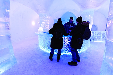 Sorrisniva Igloo Hotel in winter, snow or ice hotel, striking sculpture, ice bar, Alta, Finnmark, Arctic Circle, North Norway, Scandinavia, Europe