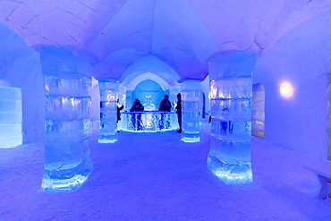 Sorrisniva Igloo Hotel, snow or ice hotel in winter, striking sculpture, ice bar, Alta, Finnmark, Arctic Circle, North Norway, Scandinavia, Europe