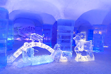Sorrisniva Igloo Hotel, snow or ice hotel in winter, striking sculpture, lobby, Alta, Finnmark, Arctic Circle, North Norway, Scandinavia, Europe