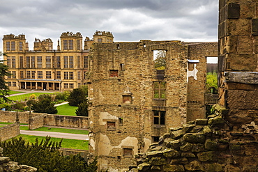 Aerial view from the Old Hall of its replacement, Hardwick Hall, near Chesterfield, Derbyshire, England, United Kingdom, Europe