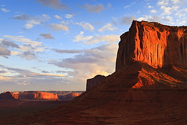 Red cliffs at sunset, Monument Valley Navajo Tribal Park, Utah and Arizona border, United States of America, North America