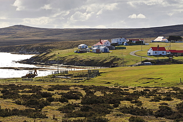 Waterside painted wooden cottages with corrugated iron roofs, Johnson's Harbour settlement, East Falkland, Falkland Islands, South America