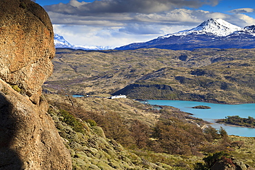 View of Explora Hotel Salto Chico on Lago Pehoe, from approach to Condor Vista Point, Torres del Paine National Park, Patagonia, Chile, South America