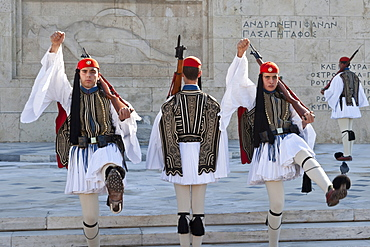 Evzone soldiers, Changing the Guard, Syntagma Square, Athens, Greece, Europe