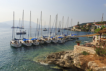 Yachts and ships at anchor, Fiskardo, Kefalonia (Cephalonia), Ionian Islands, Greek Islands, Greece, Europe