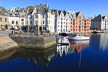 Art Nouveau buildings and reflections, Alesund, More og Romsdal, Norway, Scandinavia, Europe