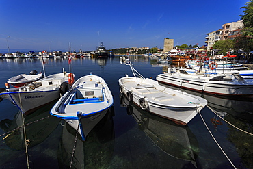 Small boats and reflections, seafront promenade, Sinop, Black Sea Coast, Turkey, Asia Minor, Eurasia