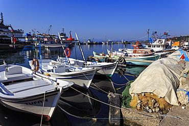 Fishing boats and nets, Sinop, Black Sea Coast, Anatolia, Turkey, Asia Minor, Eurasia