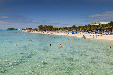 Busy beach and seashore with paddlers and snorkelers, cruise terminal, Grand Turk, Turks and Caicos, West Indies, Caribbean, Central America