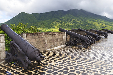 Cannons and green hills, Brimstone Hill Fortress, UNESCO World Heritage Site, St. Kitts, St. Kitts and Nevis, West Indies, Caribbean, Central America