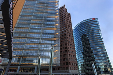 Modern design, high rise office buildings and station, early morning, Potsdamer Platz, Berlin, Germany, Europe