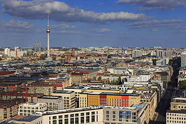 Elevated view, Berliner Dom, Fernsehturm and Leipziger Platz and Strasse, from Panoramapunkt, Potsdamer Platz, Berlin, Germany, Europe