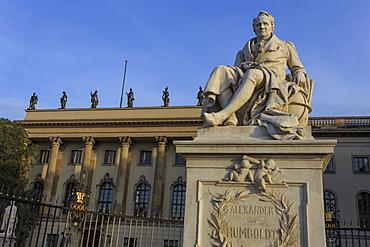 Statue of Alexander Humboldt lit by early morning sun, Humboldt University, Unter den Linden, Historic Mitte, Berlin, Germany, Europe