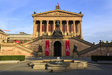 Alte Nationalgalerie (Old National Gallery), lit by early morning sun, Museum Island, Berlin, Germany, Europe