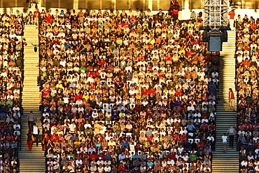 Crowd lit by evening sun, Olympic Stadium, London 2012 Olympic Games, London, England, United Kingdom, Europe