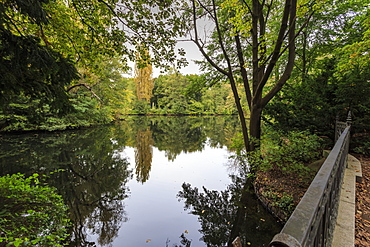 Autumn evening in Tiergarten Park, Lake with reflections, Berlin, Germany, Europe
