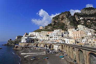 Atrani beach front, near Amalfi, Costiera Amalfitana (Amalfi Coast), UNESCO World Heritage Site, Campania, Italy, Europe