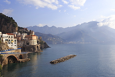 Church of Santa Maria Maddalena, town and cliffs, distant coast, elevated hazy view, Atrani, Costiera Amalfitana (Amalfi Coast), UNESCO World Heritage Site, Campania, Italy, Europe