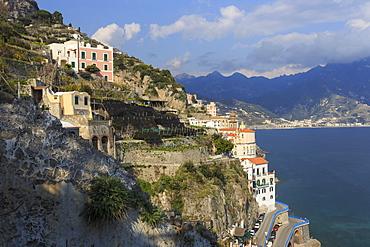 Cliff side view towards Atrani and distant Maiori, Costiera Amalfitana (Amalfi Coast), UNESCO World Heritage Site, Campania, Italy, Europe