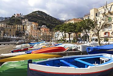 Minori, colourful boats on the beach with promenade in early spring, Costiera Amalfitana (Amalfi Coast), UNESCO World Heritage Site, Campania, Italy, Euruope