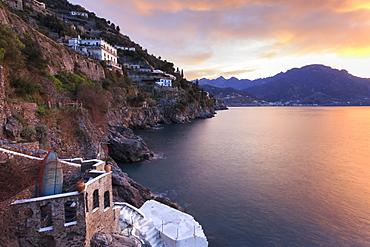 Sunrise, dawn on the Costiera Amalfitana (Amalfi Coast), view towards Maiori, UNESCO World Heritage Site, Campania, Italy, Europe
