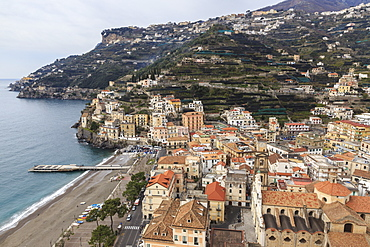 Minori, beach, town, cathedral and terraced hillsides with view to Ravello, elevated view, Costiera Amalfitana (Amalfi Coast), UNESCO World Heritage Site, Campania, Italy, Europe