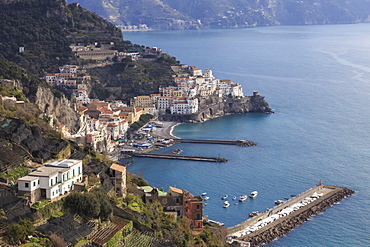 View of Amalfi, from Pastena, Costiera Amalfitana (Amalfi Coast), UNESCO World Heritage Site, Campania, Italy, Europe