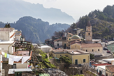 Pogerola and misty hillsides beyond, Costiera Amalfitana (Amalfi Coast), UNESCO World Heritage Site, Campania, Italy, Europe