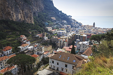 Elevated view of Amalfi, Costiera Amalfitana (Amalfi Coast), UNESCO World Heritage Site, Campania, Italy, Europe