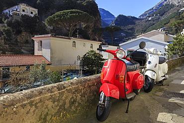 Mopeds parked on a narrow street, Amalfi, Costiera Amalfitana (Amalfi Coast), UNESCO World Heritage Site, Campania, Italy, Europe