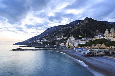 Amalfi waterfront at dusk, Costiera Amalfitana (Amalfi Coast), UNESCO World Heritage Site, Campania, Italy, Europe