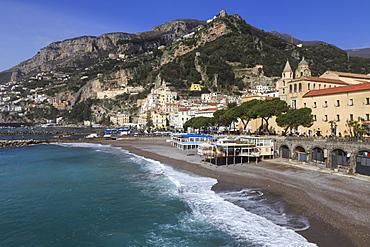 Beach, town and hills of Amalfi in sunshine with breaking waves, Costiera Amalfitana (Amalfi Coast), UNESCO World Heritage Site, Campania, Italy, Europe