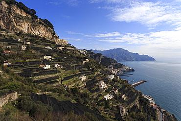 View towards Amalfi, from Pastena, Costiera Amalfitana (Amalfi Coast), UNESCO World Heritage Site, Campania, Italy, Europe