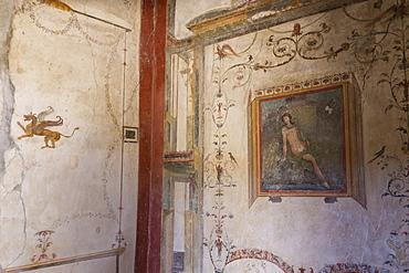 Frescoes, Casa dell'Ara Massima, Roman ruins of Pompeii, UNESCO World Heritage Site, Campania, Italy, Europe