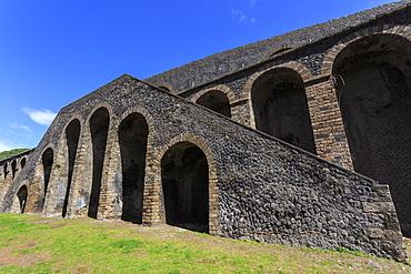 Amphitheatre exterior detail, Roman ruins of Pompeii, UNESCO World Heritage Site, Campania, Italy, Europe