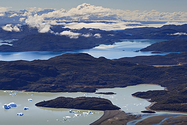 View of Lakes Grey, Pehoe, Nordenskjold and Sarmiento, from Ferrier Vista Point, Torres del Paine National Park, Patagonia, Chile, South America