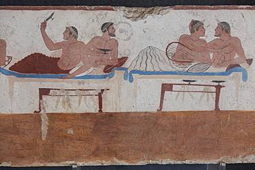 Painted Tomb of the Diver detail, National Archaeological Museum, Paestum, UNESCO World Heritage Site, Campania, Italy, Europe