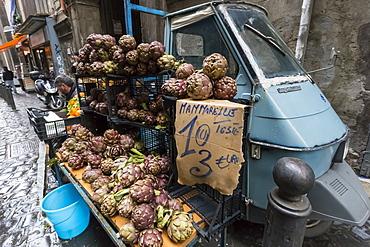 Local artichokes for sale from Piaggio van, Historic Centre (Centro Storico), UNESCO World Heritage Site, Naples, Campania, Italy, Europe