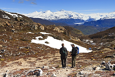 Hikers take a break from walking, trail to Ferrier Vista Point, Torres del Paine, Patagonia, Chile, South America