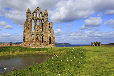 Ruins of Whitby Abbey with Abbey Pond, Whitby, North Yorkshire, England, United Kingdom, Europe